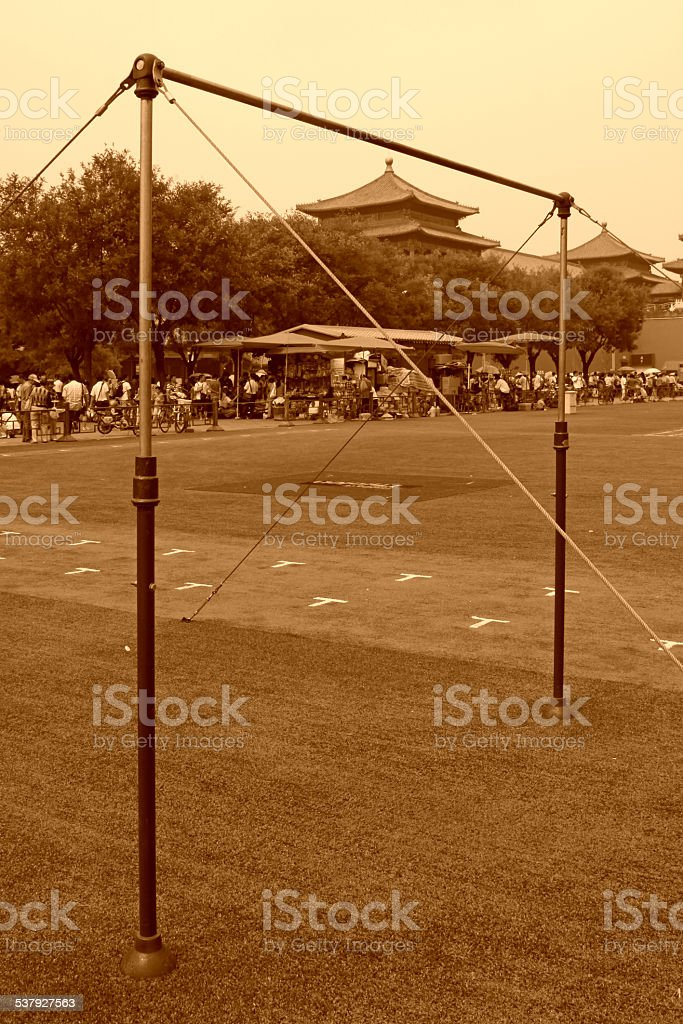 The horizontal bar in Tiananmen national flag guard training sit stock photo
