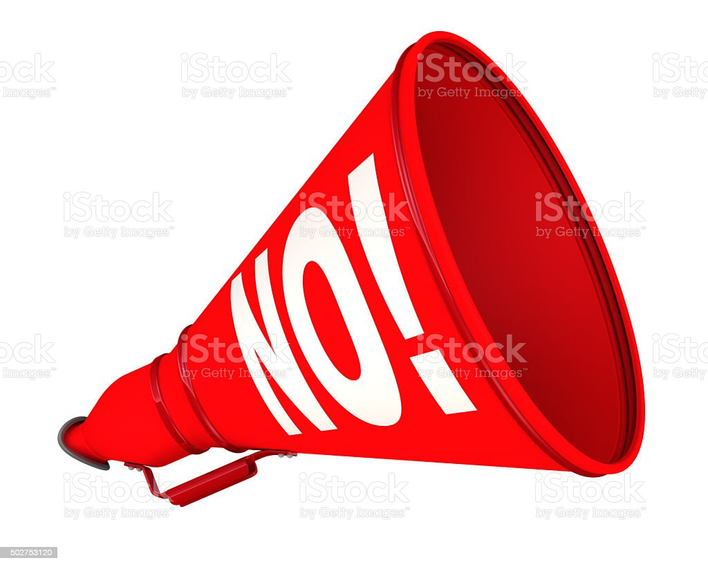 NO! The horn with the inscription stock photo