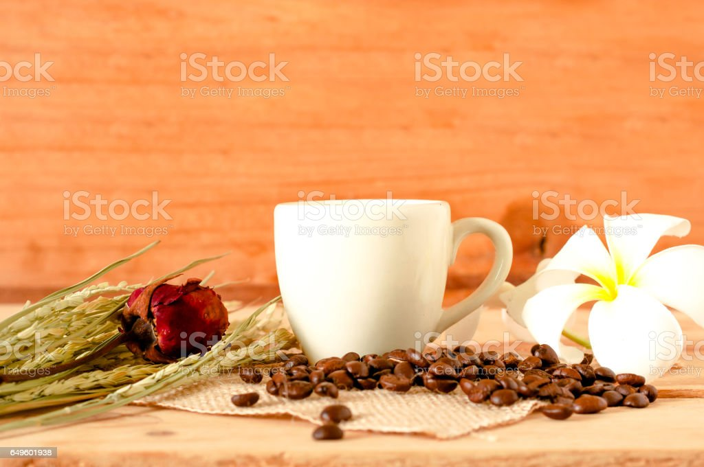 the hot coffee in the white cup on wooden table with coffee beans seed stock photo