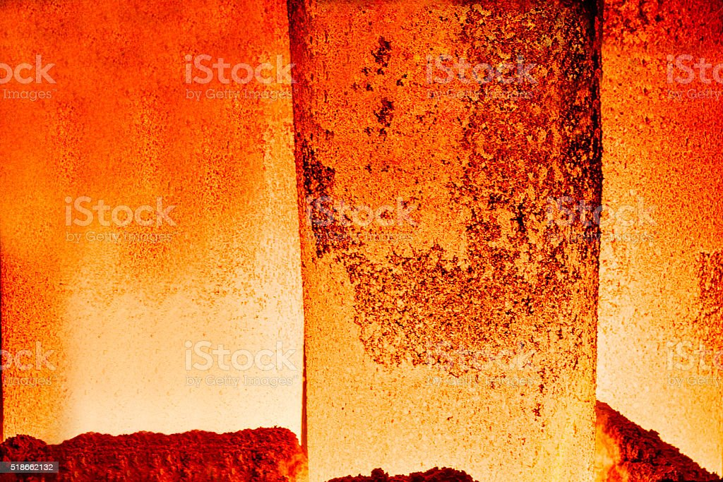 The hot steel close shot in the steel mills stock photo