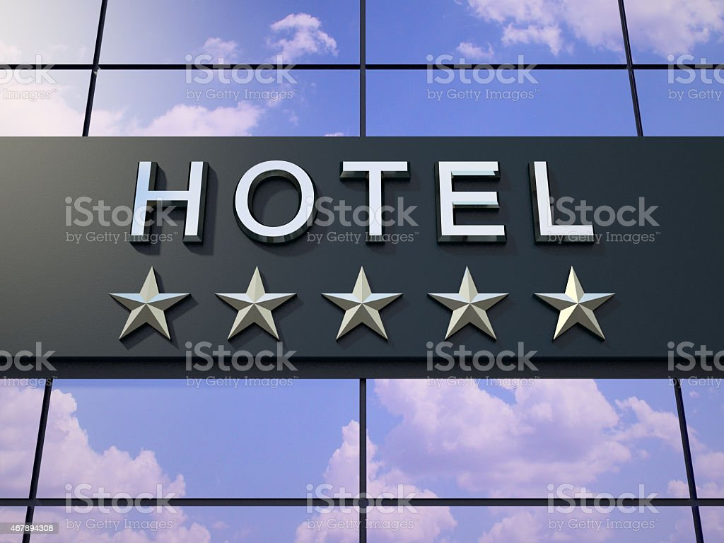 The hotel sign with five stars. stock photo