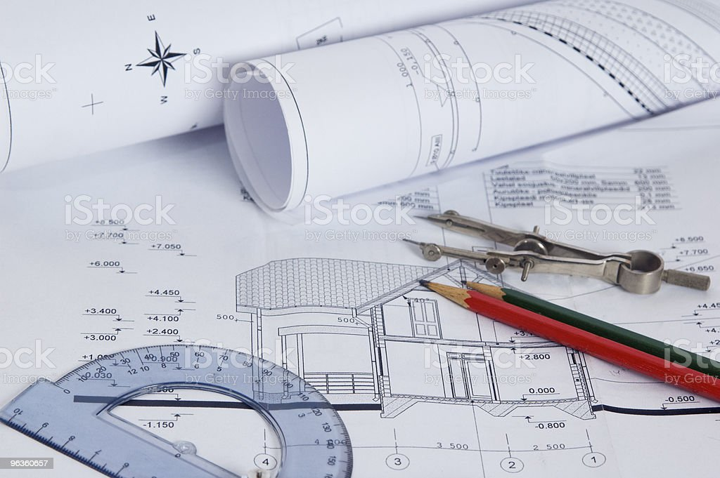 The house construction plan royalty-free stock photo