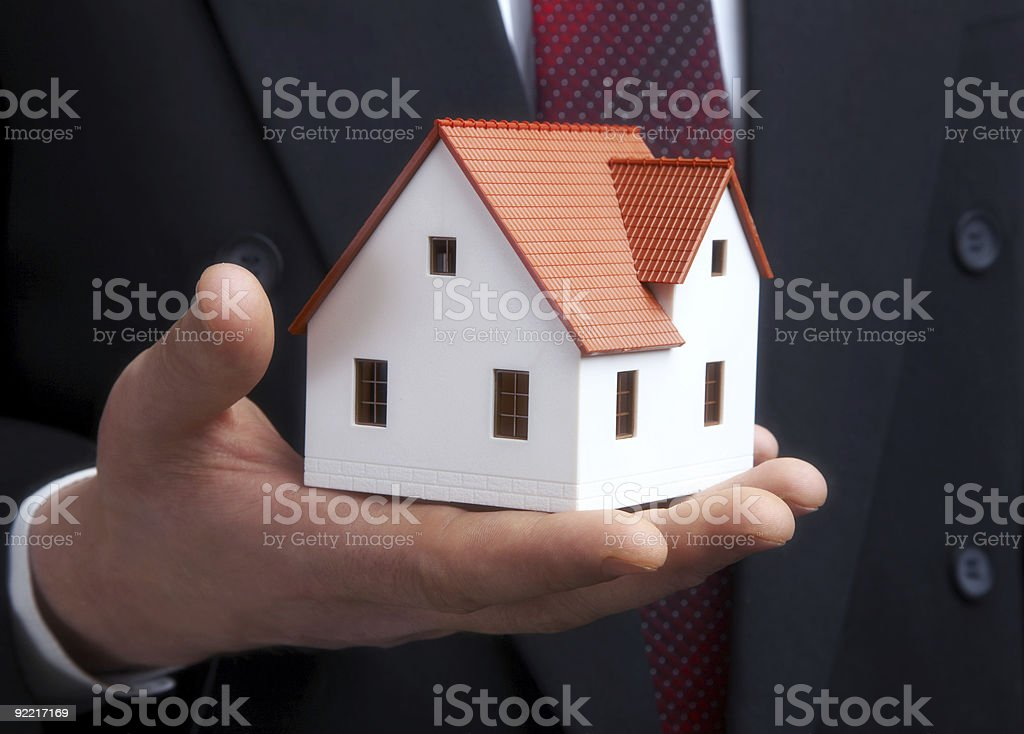 The house in a hand stock photo
