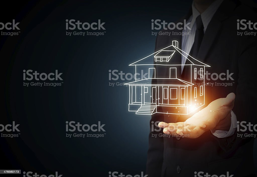 The house in human hands royalty-free stock photo