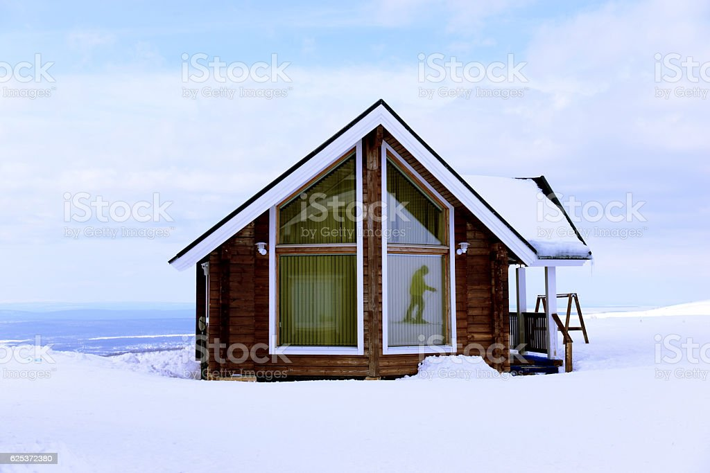 The house in winter  mountains stock photo