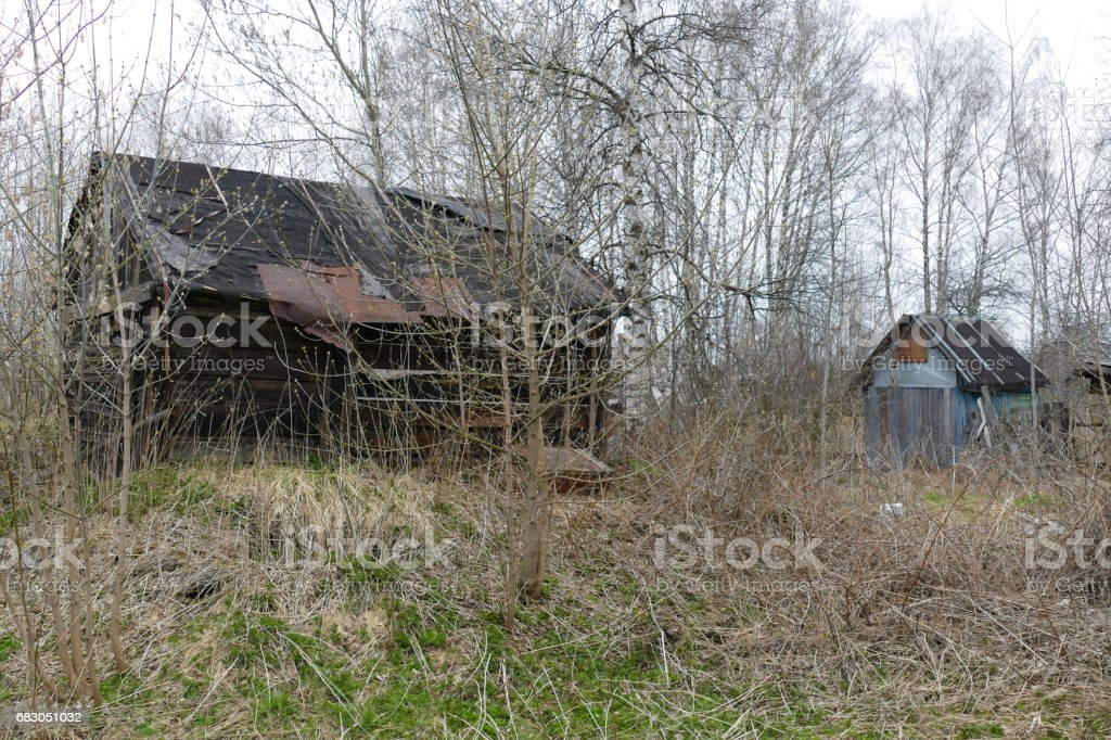 The house is old in the village of Russia stock photo