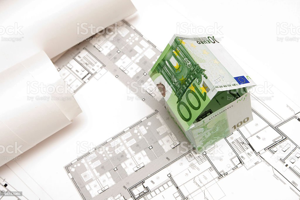The house made of 100 Euro banknotes royalty-free stock photo
