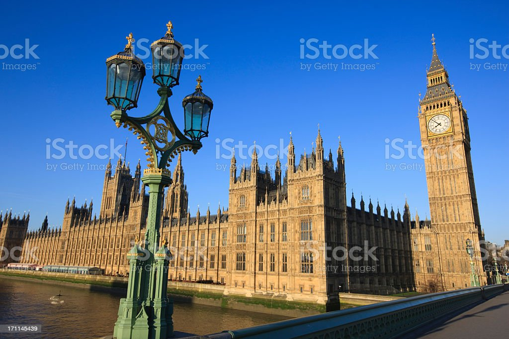 The House of Parliament, London under the clear blue sky royalty-free stock photo