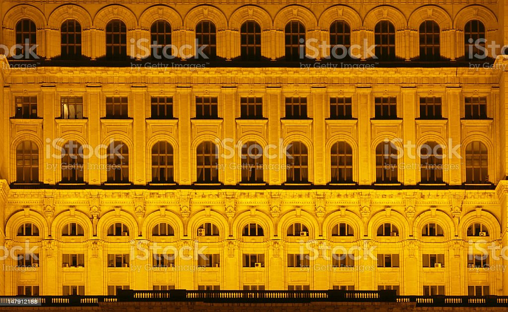 The House of Parliament,Bucharest,Romania-night detail royalty-free stock photo