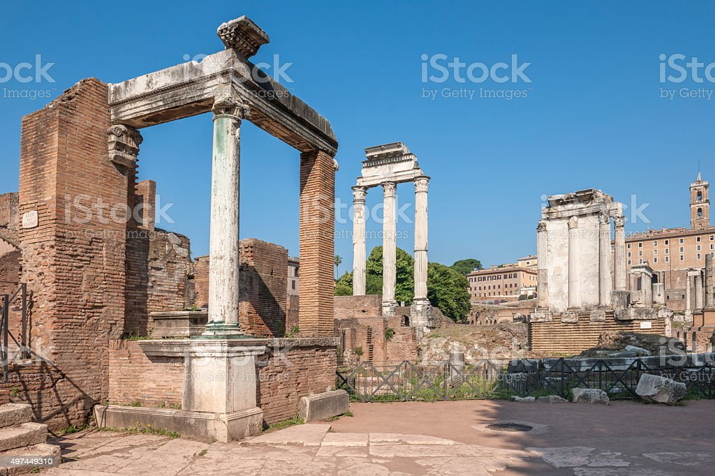 The House of the Vestal Virgins at the Roman Forum stock photo