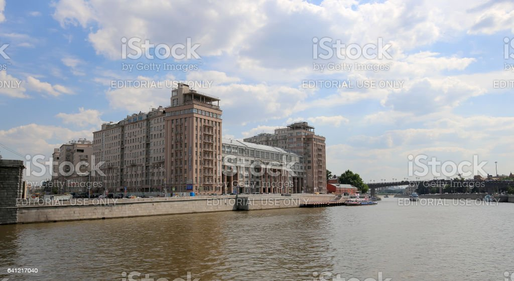 The House on the Embankment with the State Estrada Theatre Moscow, Russia stock photo