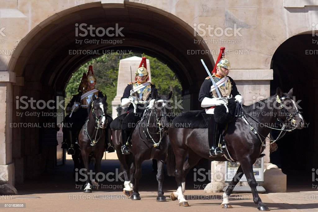 The Household Cavalry on duty at Horse Guard stock photo