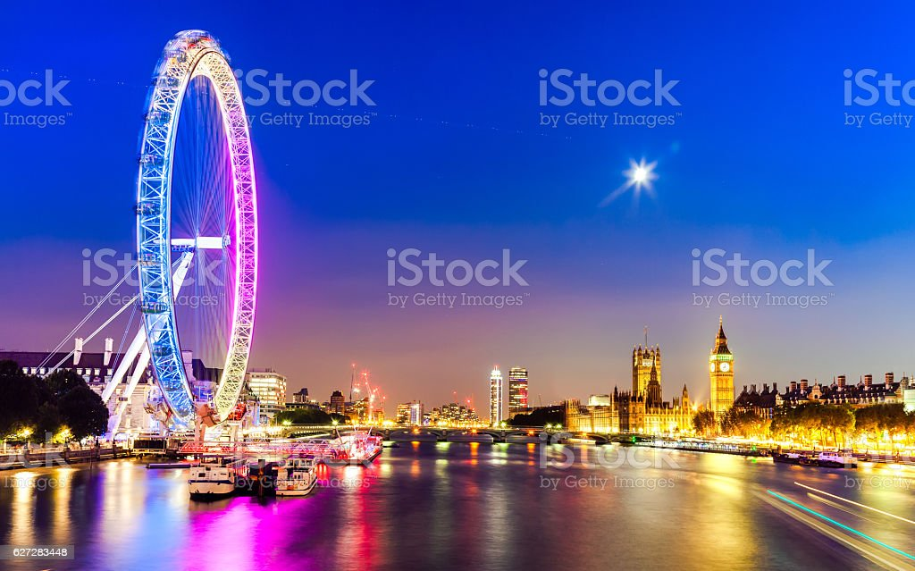 The Houses of Parliament and London Eye at night stock photo