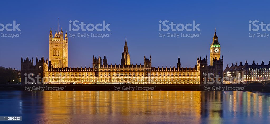 The Houses of Parliament in London at Dusk royalty-free stock photo