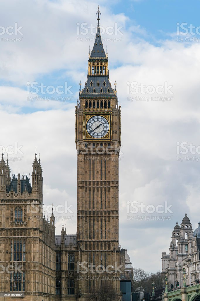 The Houses of Parliament Westminster with Big Ben and Queen Lizenzfreies stock-foto