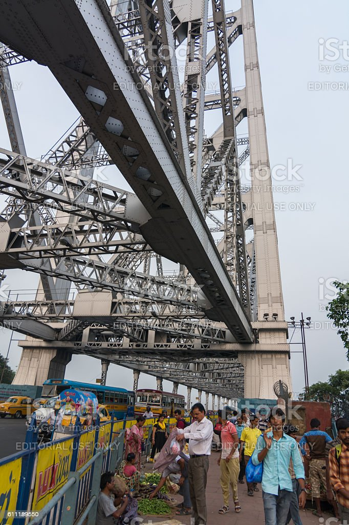 The Howrah Bridge in Kolkata, India royalty-free stock photo