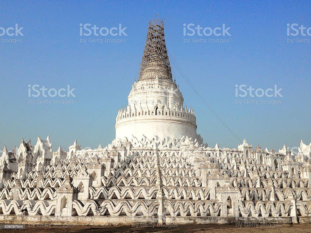 The Hsinbyume white pagoda stock photo