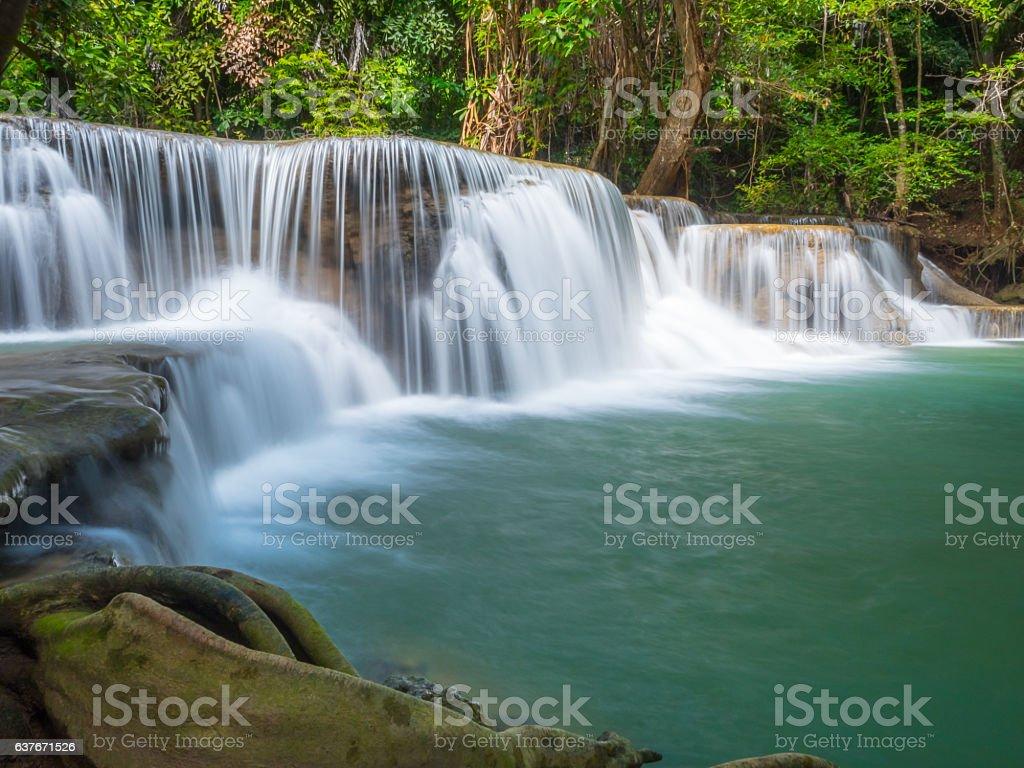 The Huai Mae Khamin waterfall, Khanchanaburi in Thailand stock photo
