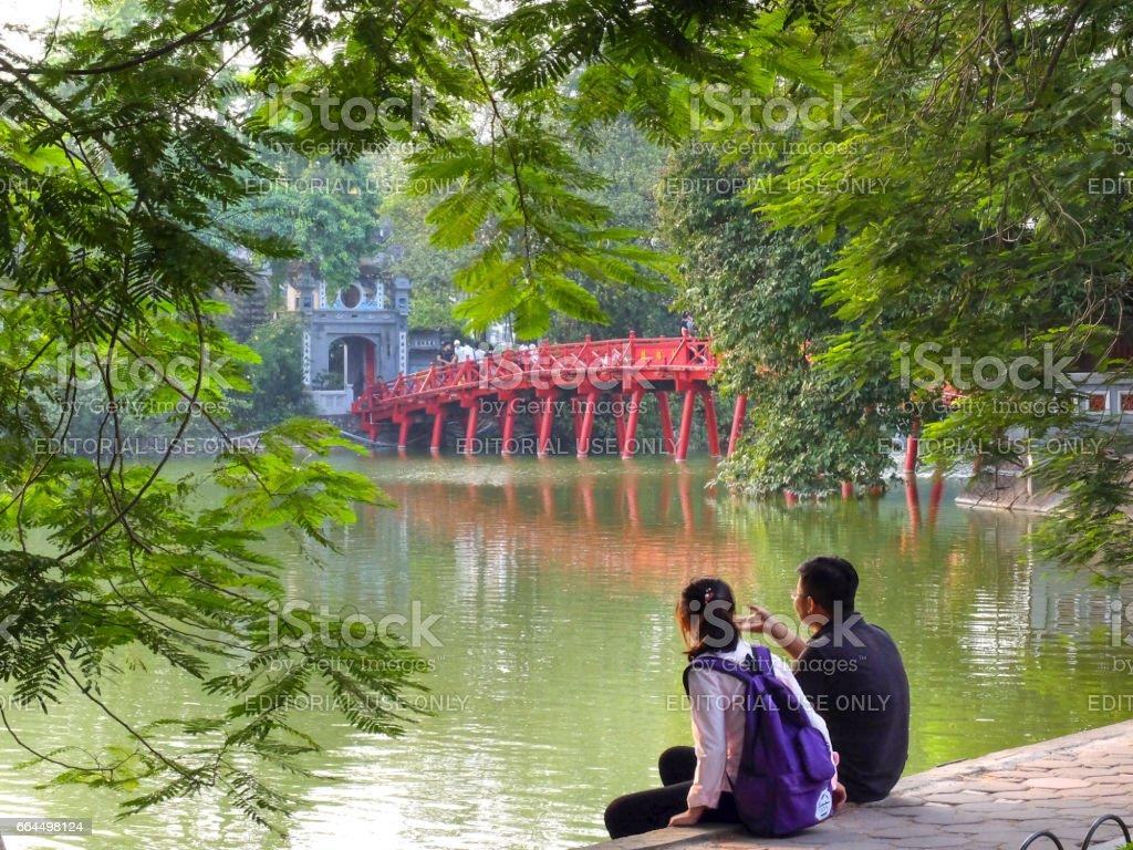 The Huc Bridge in Ha Noi, Vietnam stock photo