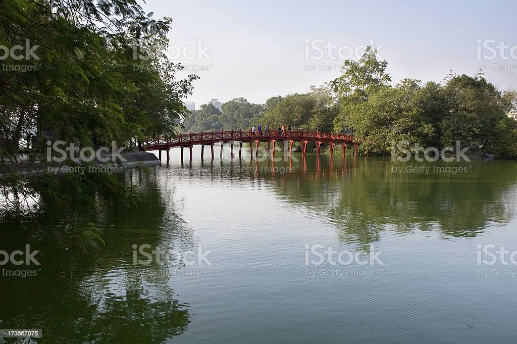 The Huc Bridge On Hoan Kiem Lake In Hanoi, Vietnam stock photo