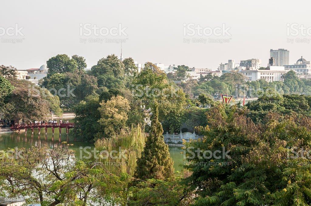 The Huc Bridge On Hoan Kiem Lake In Vietnam stock photo