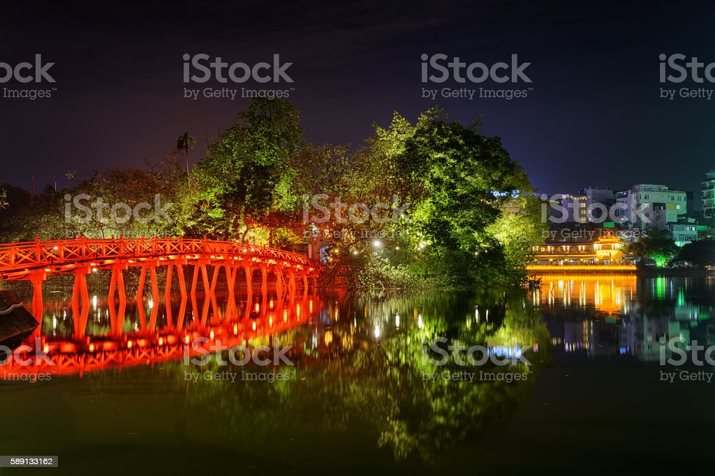 The Huc Bridge on the Sword Lake in Hanoi, Vietnam stock photo