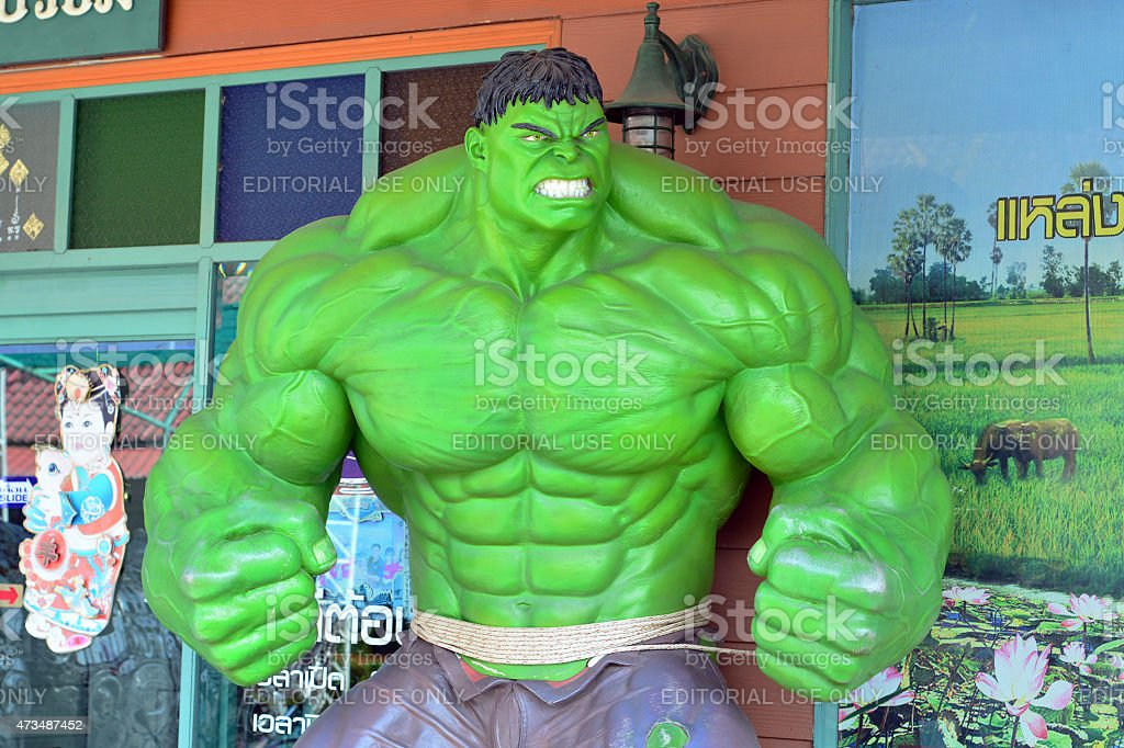 The Hulk model at Thung Bua Chom floating market stock photo
