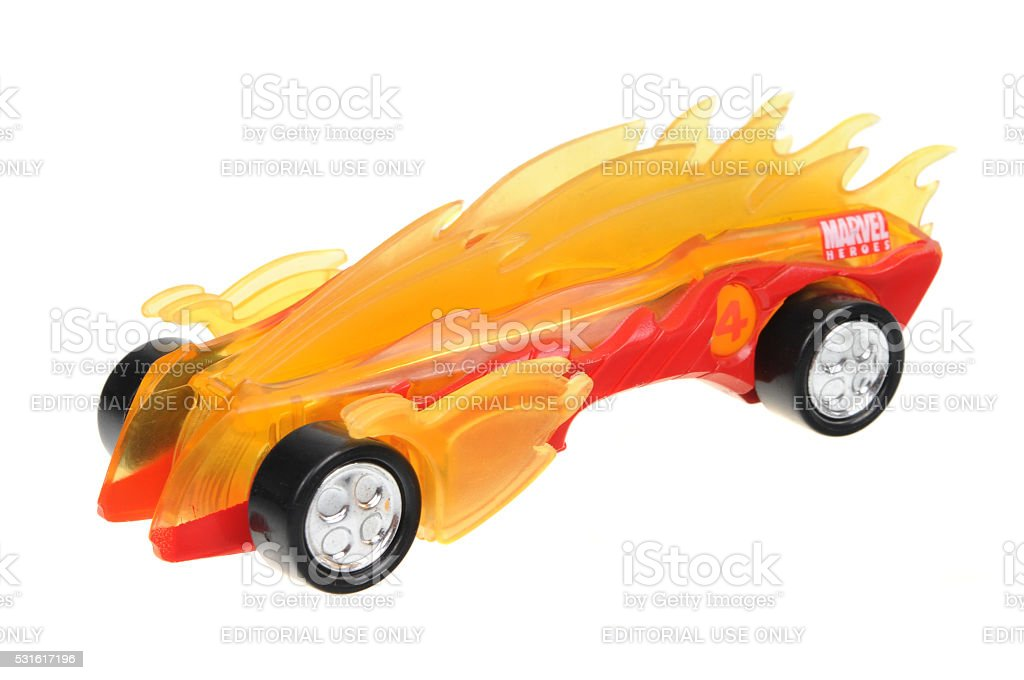 2005 The Human Torch Fantastic 4 Majorette Diecast Toy Car stock photo