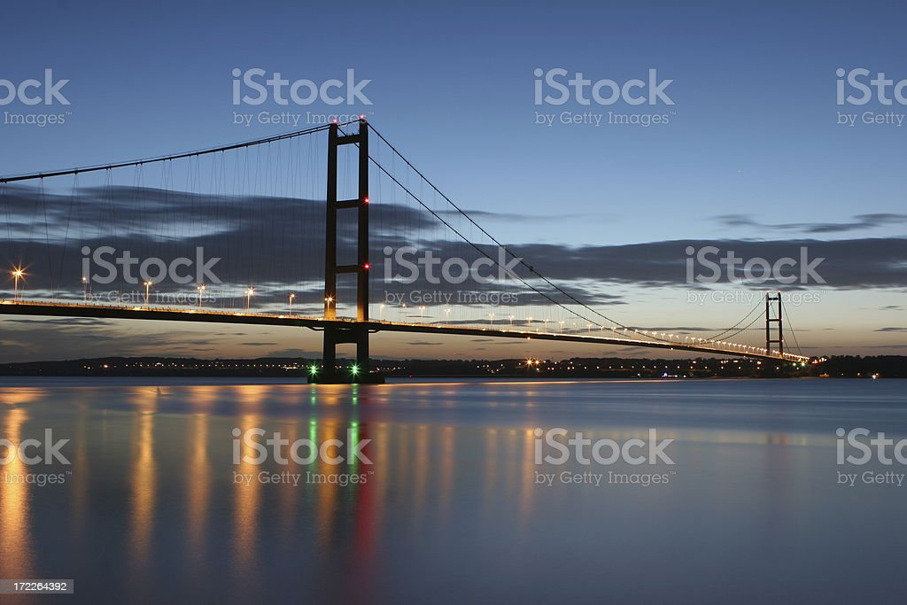 The Humber Bridge at Night stock photo