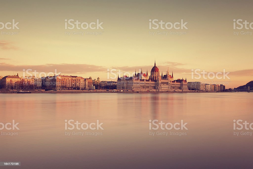 the Hungarian Parliament at sunset royalty-free stock photo