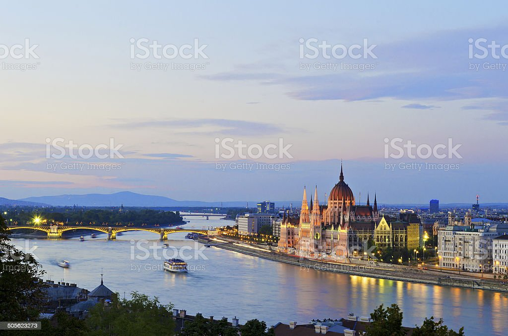 The Hungarian Parliament Building by the Danube River stock photo