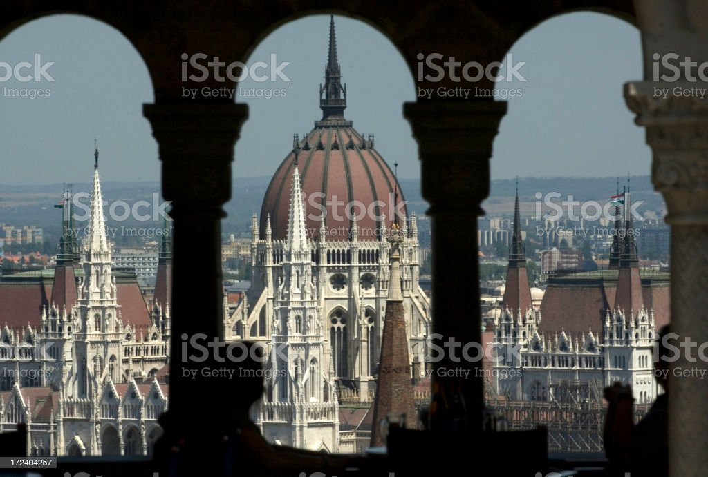 The Hungarian Parliament building Danube River Budapest royalty-free stock photo