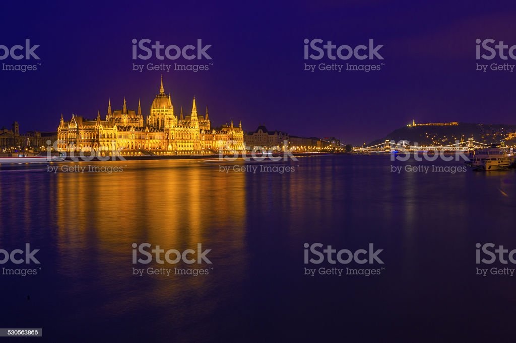 the Hungarian Parliament in Budapest in the night stock photo