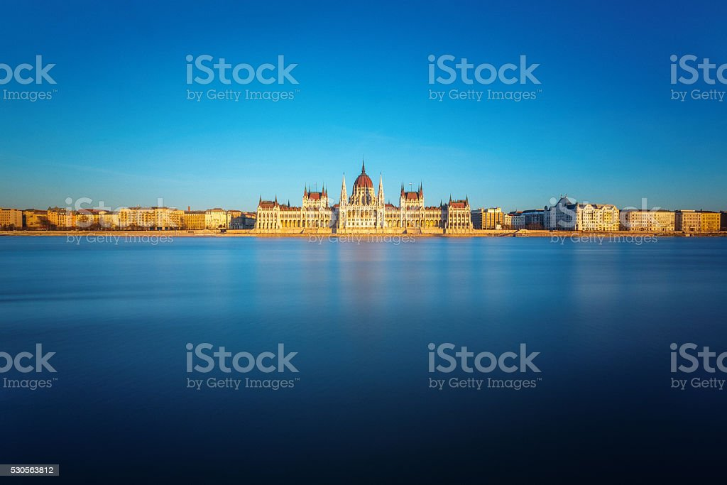 the Hungarian Parliament in Budapest stock photo