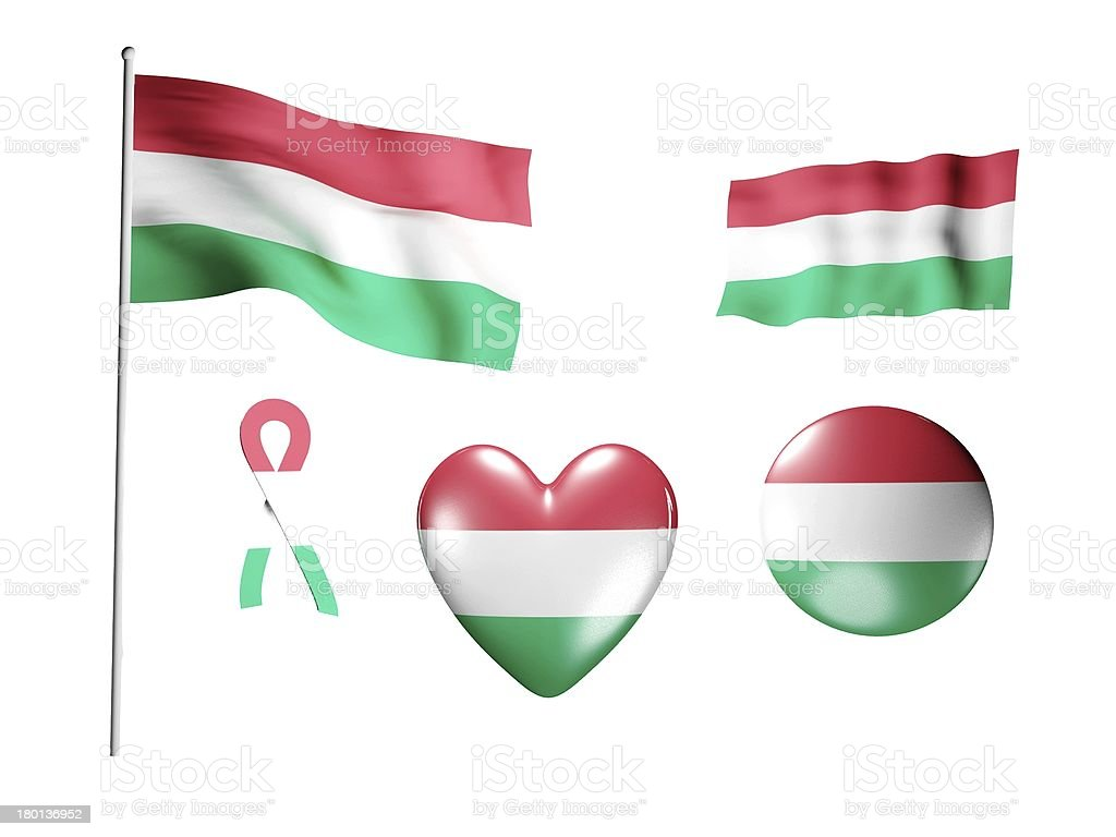 The Hungary flag - set of icons and flags royalty-free stock photo