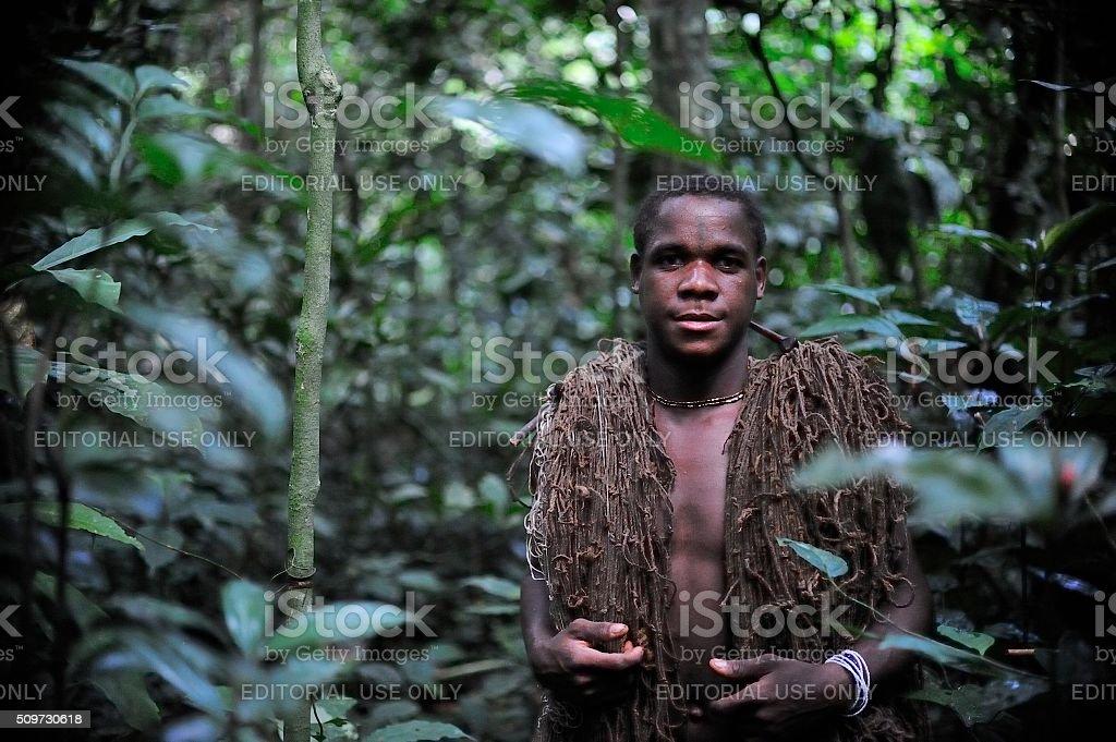 The hunter-pygmy stock photo