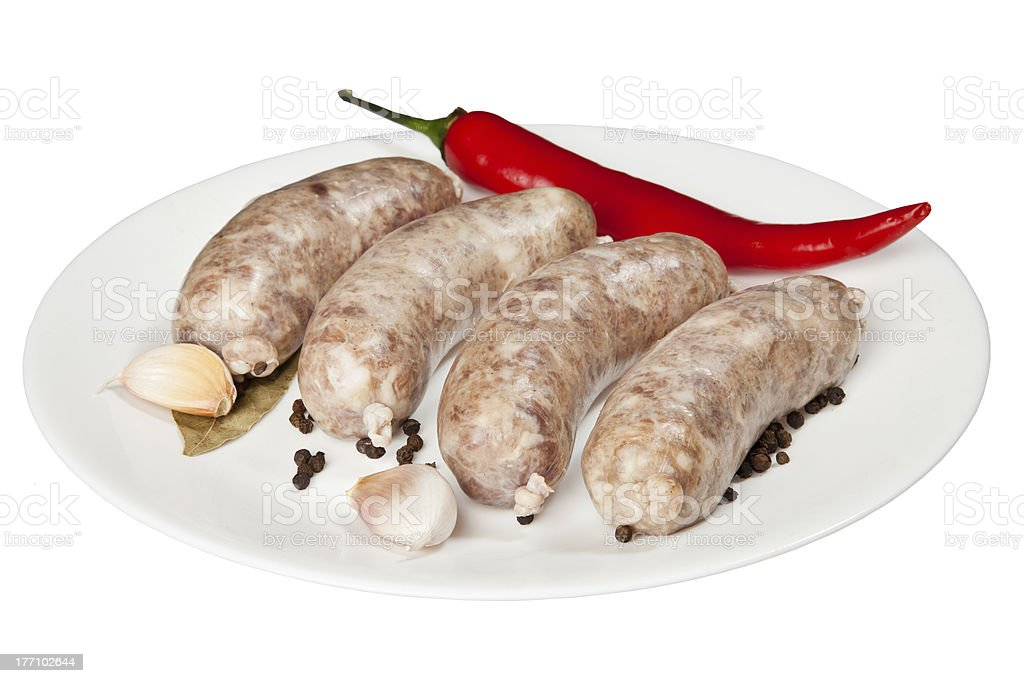 The hunting sausages on a white plate royalty-free stock photo