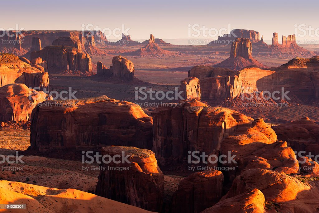 The Hunts Mesa with long shadows at sunset stock photo