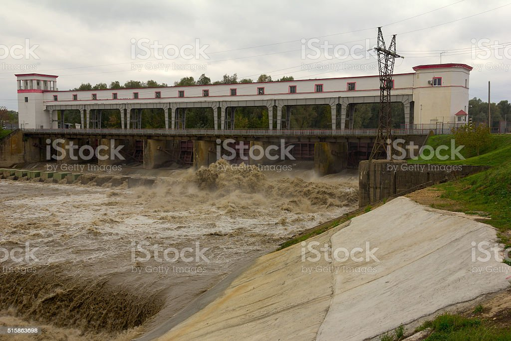 The hydroelectric dam stock photo
