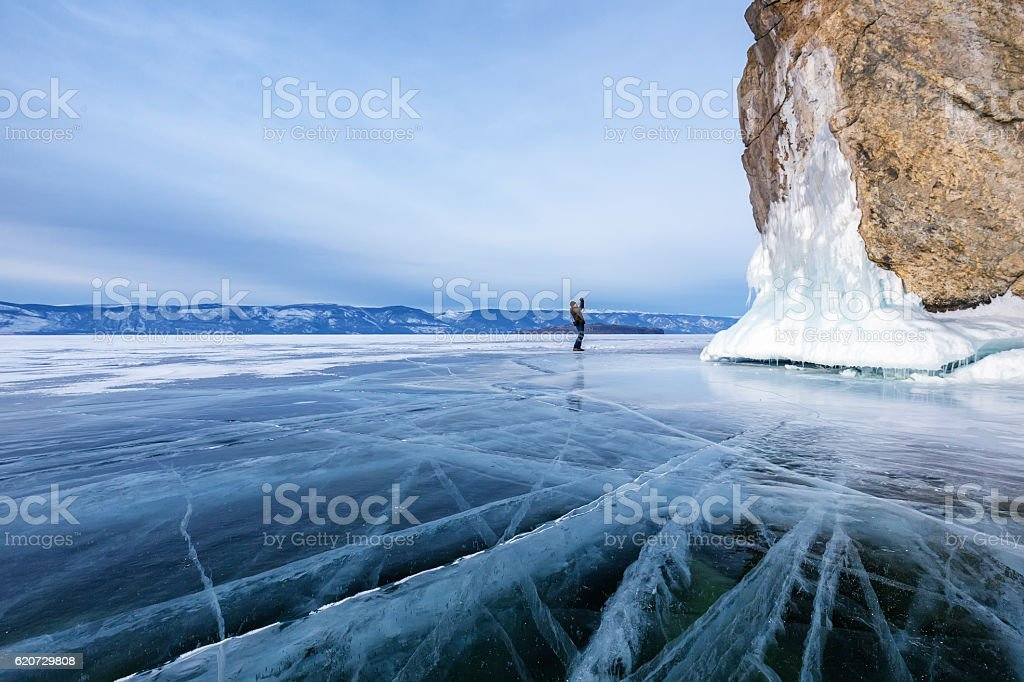 The ice of Lake Baikal stock photo