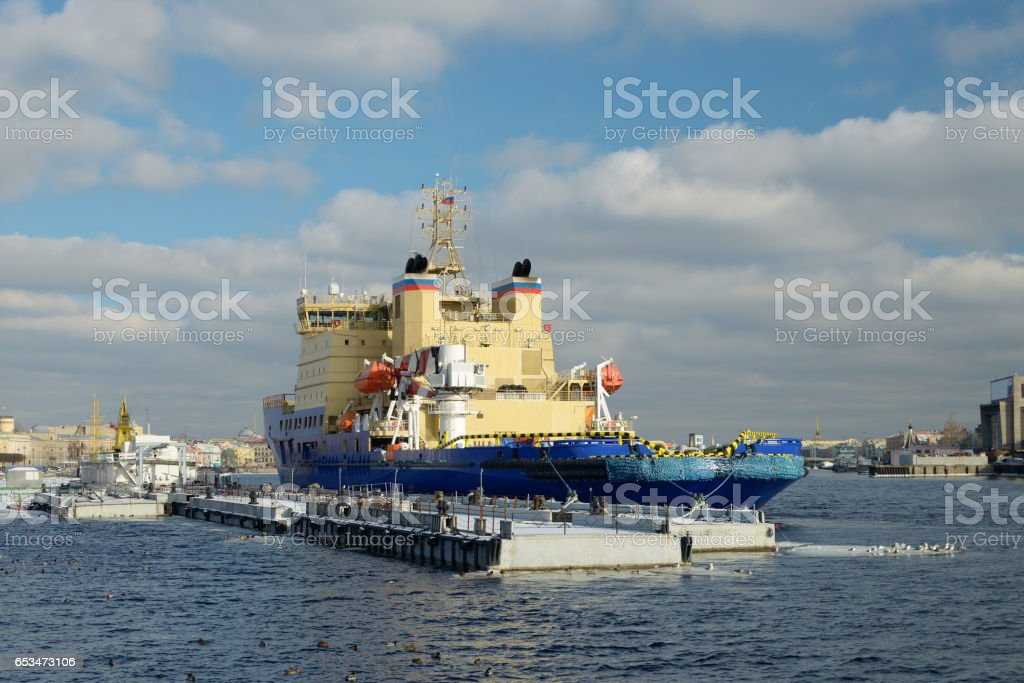 The icebreaker is set on the Marina. stock photo