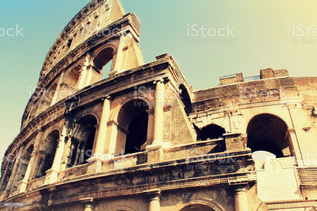 The iconic ancient Colosseum of Rome stock photo