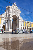 The iconic Augusta Street Triumphal Arch in the Commerce Square,