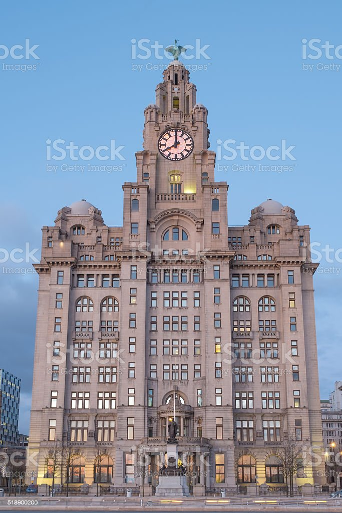 The iconic buildings of Liverpool, the Royal Liver Building stock photo