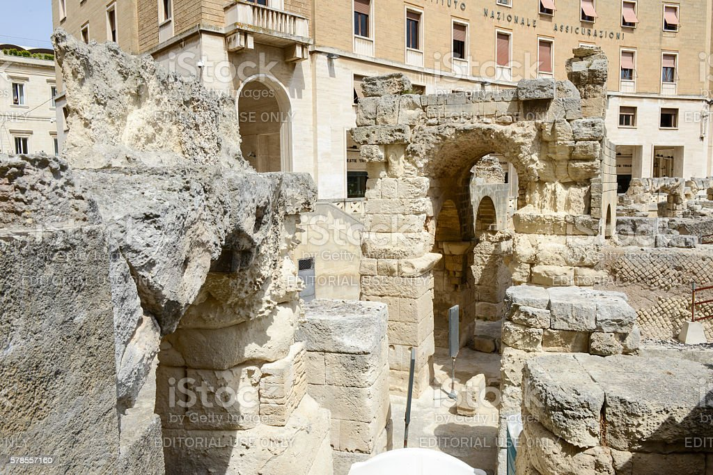 The iconic roman amphitheatre in Sant'Oronzo square on Lecce stock photo
