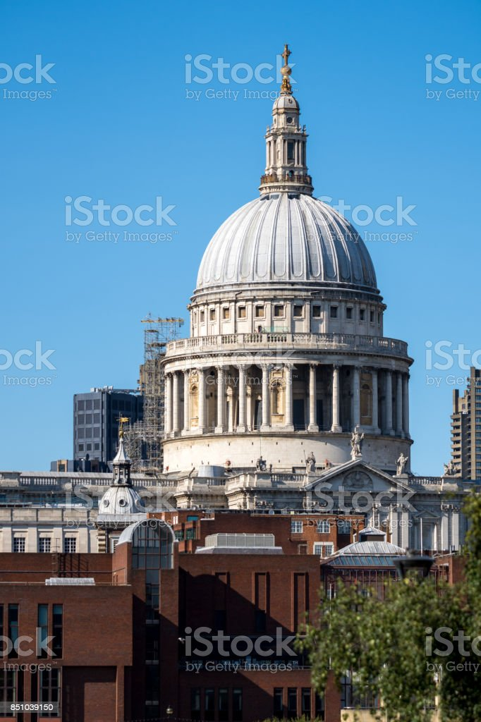 The iconic St Paul's Cathedral in London on a sunny afternoon stock photo