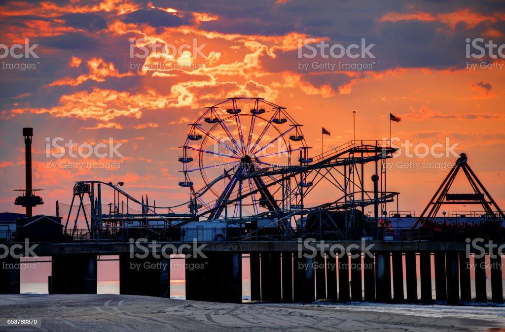 The iconic Steel Pier on the Atlantic City Boardwalk stock photo