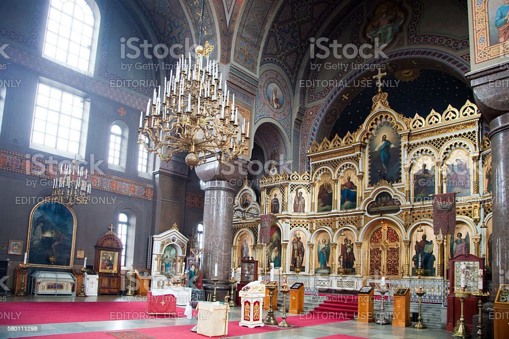 The Iconostasis at the Uspenski Cathedral in Helsinki, Finland. stock photo