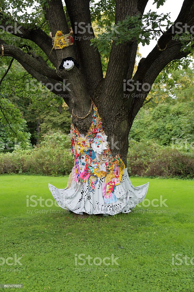 The idea of the tree decoration in the garden stock photo