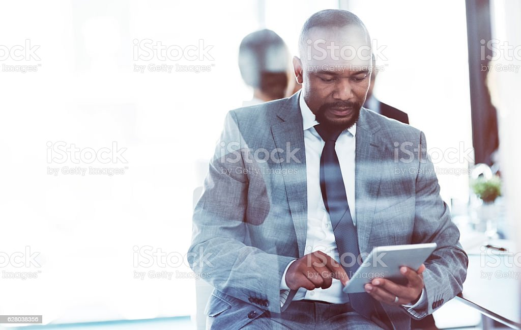 The ideal device to compliment his professional needs stock photo
